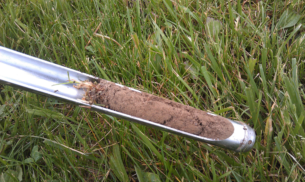 Soil probe with soil sample