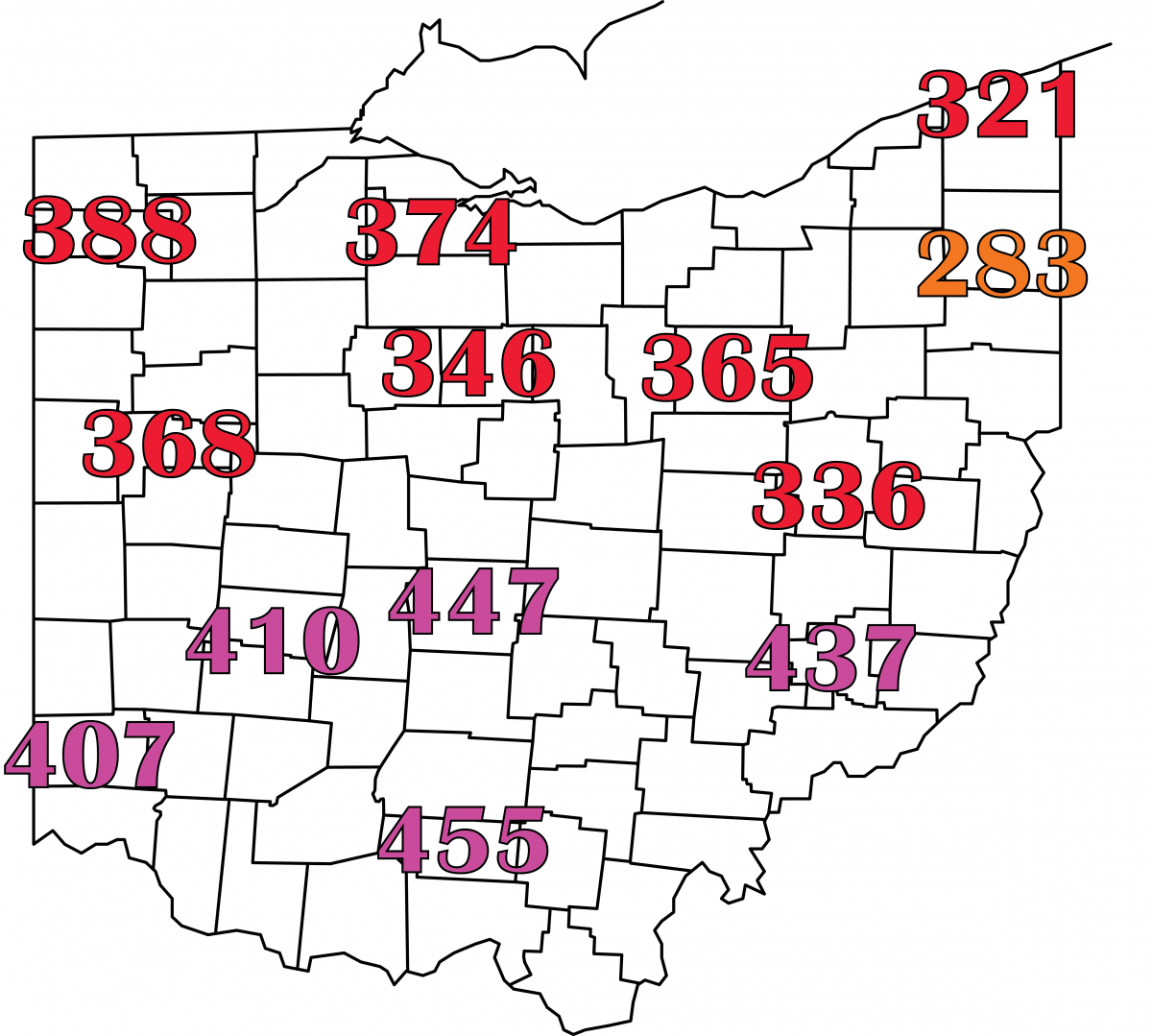 Accumulated growing degree days for alfalfa weevil in Ohio, January 1 to May 2, 2021