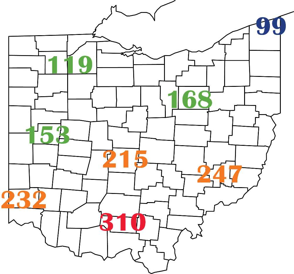 Alfalfa weevil growing degree day accumulation as of April 11, 2020 in Ohio.
