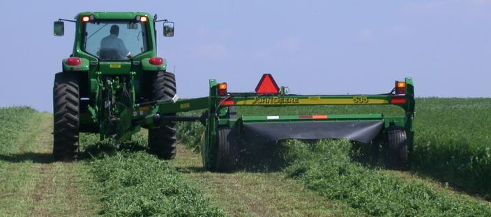Hay mower in alfalfa