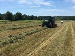 Baling hay in the field